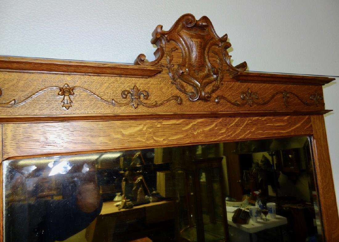 Unusual Lady's Quartersawn Chevel Mirror with Perfume - 4