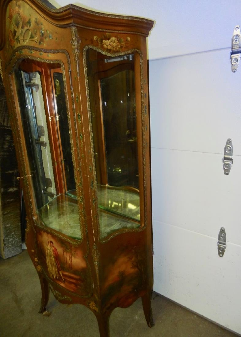 Early Hand Painted Serpentine French Curio - 2