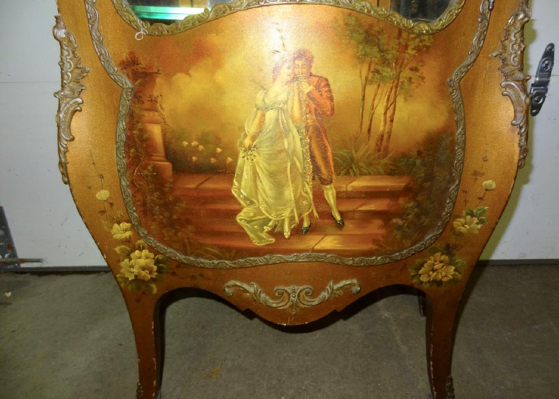 Early Hand Painted Serpentine French Curio - 3