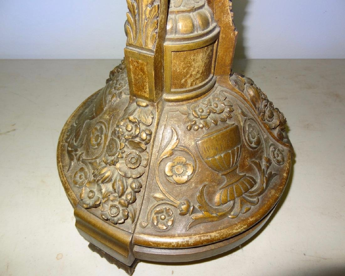 Carved Wood French Pedistal with Carved Urns - 3