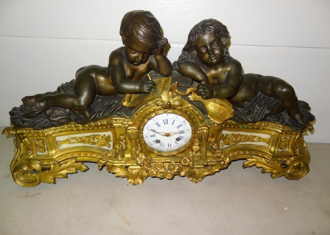 Large Bronze Putti French Mantel Clock