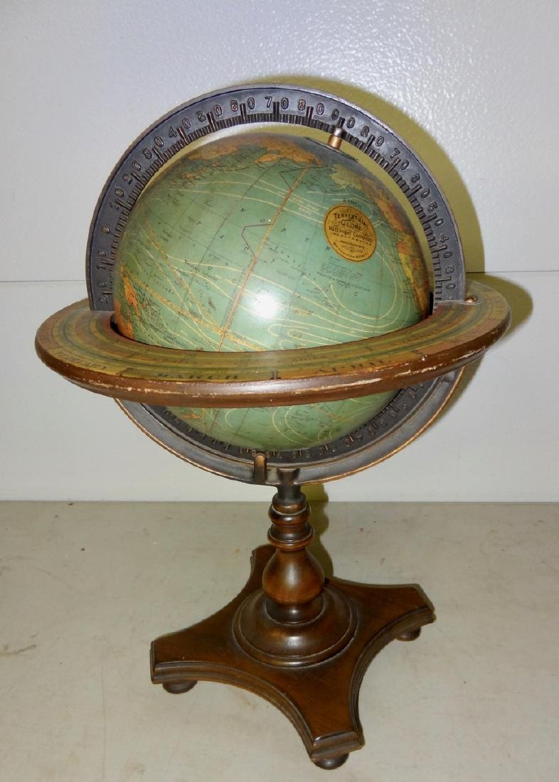 1883 Terrestrial World Globe on Stand