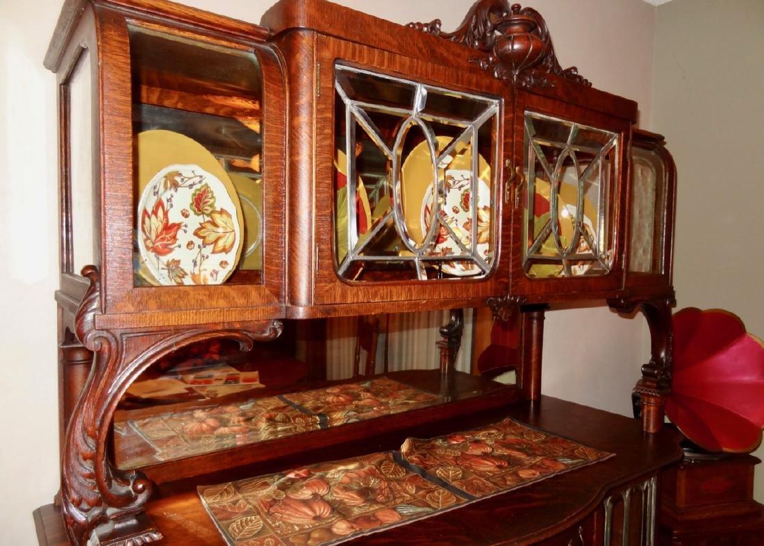 Leaded Glass Oak Silver Server Cabinet - 3