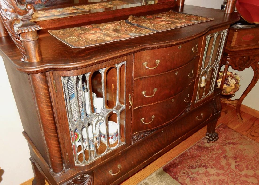 Leaded Glass Oak Silver Server Cabinet - 4