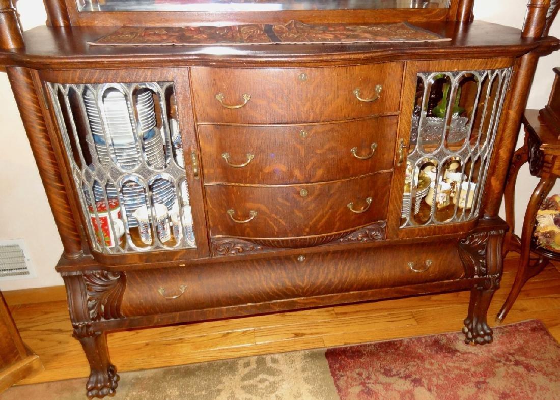 Leaded Glass Oak Silver Server Cabinet - 5