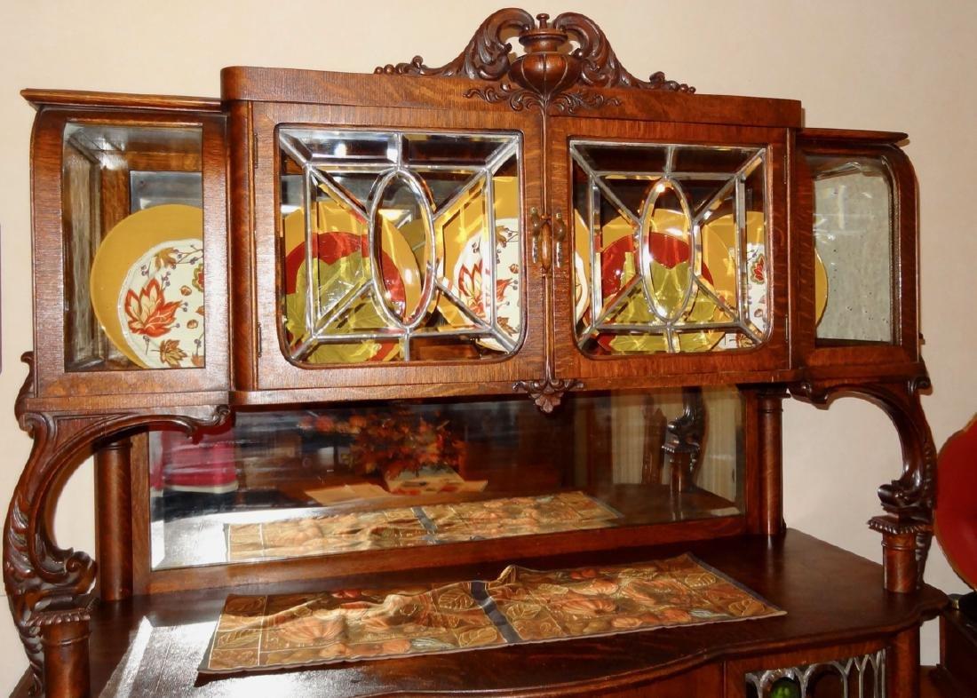 Leaded Glass Oak Silver Server Cabinet - 6