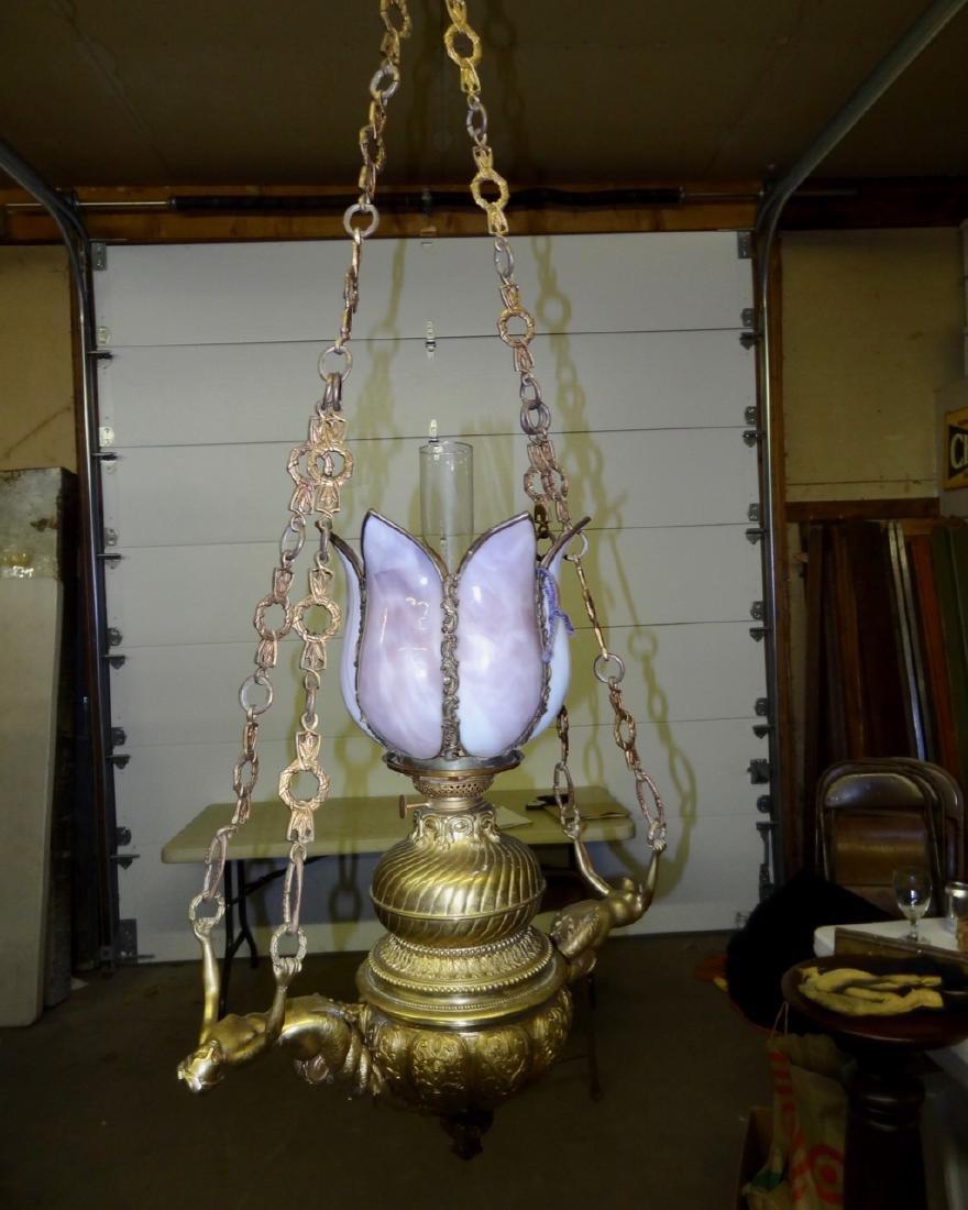 Bronze Figural Hanging Lamp