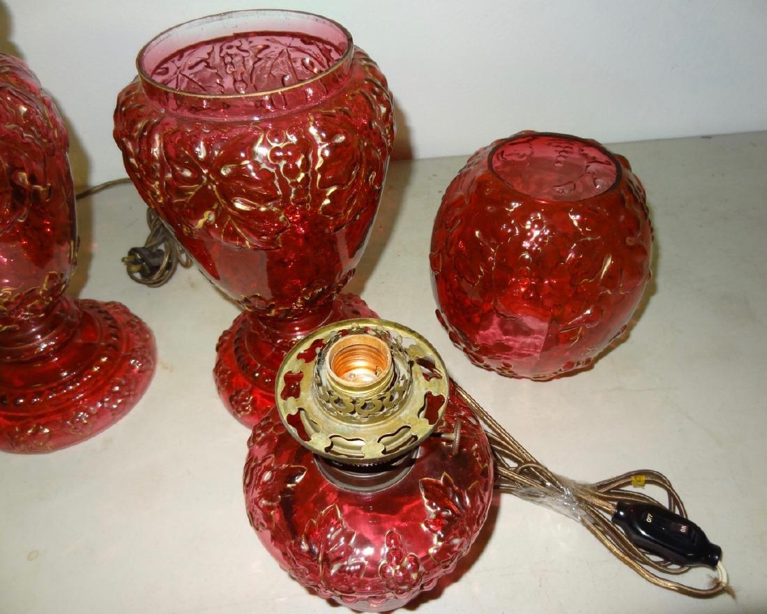 "2- 24"" Cranberry Hurricane Lamps - 4"