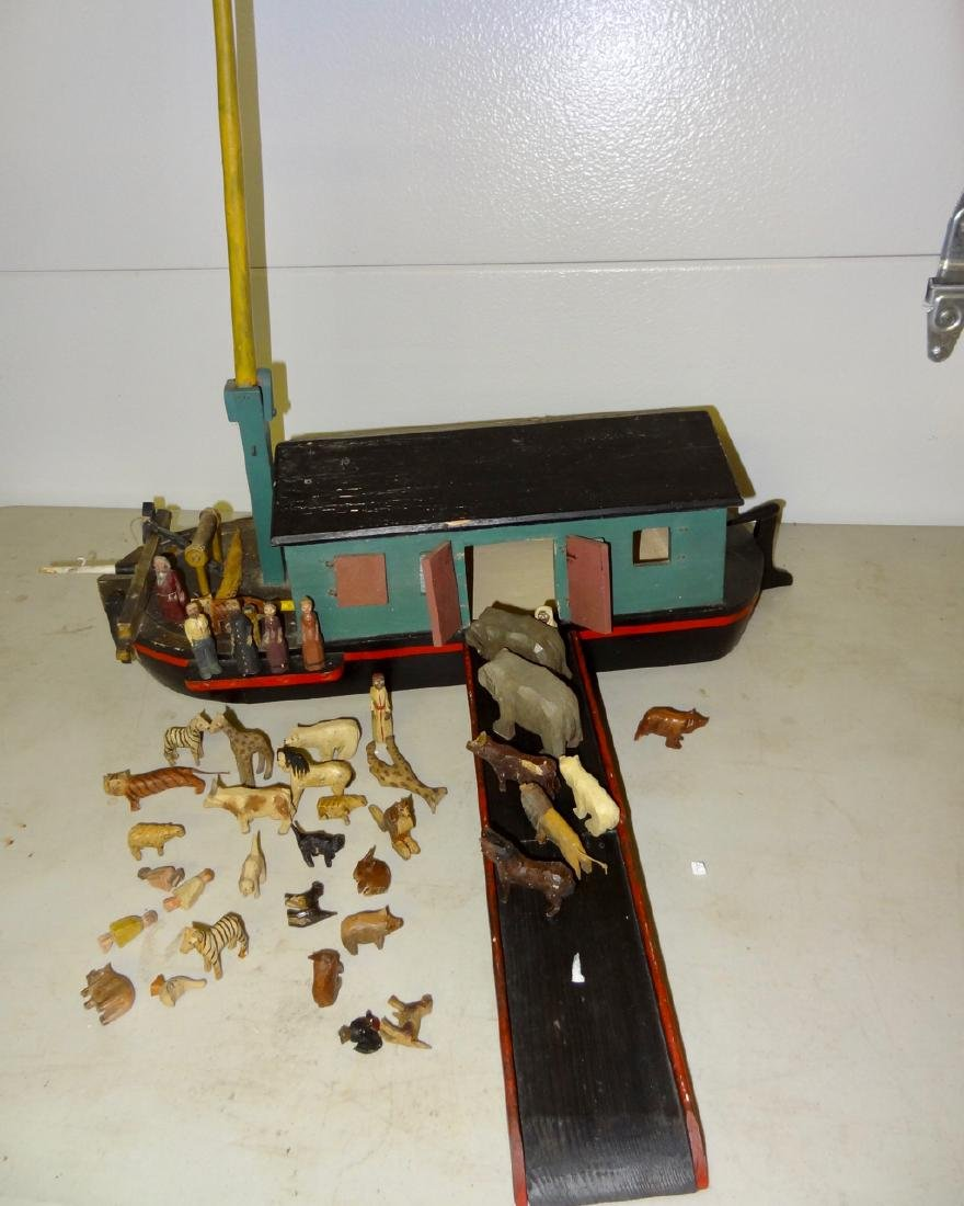 Noah's Ark w/ Carved Wood Animals