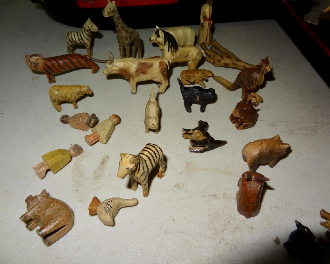 Noah's Ark w/ Carved Wood Animals - 3