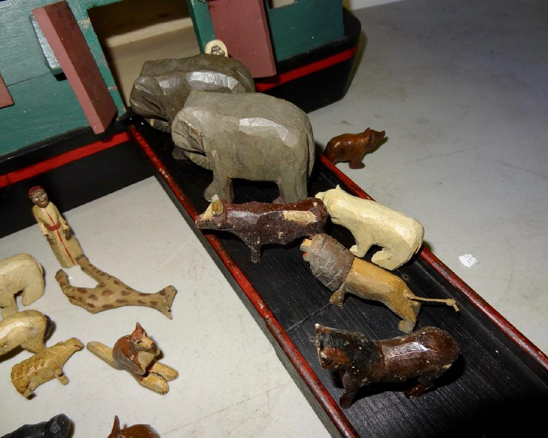 Noah's Ark w/ Carved Wood Animals - 4