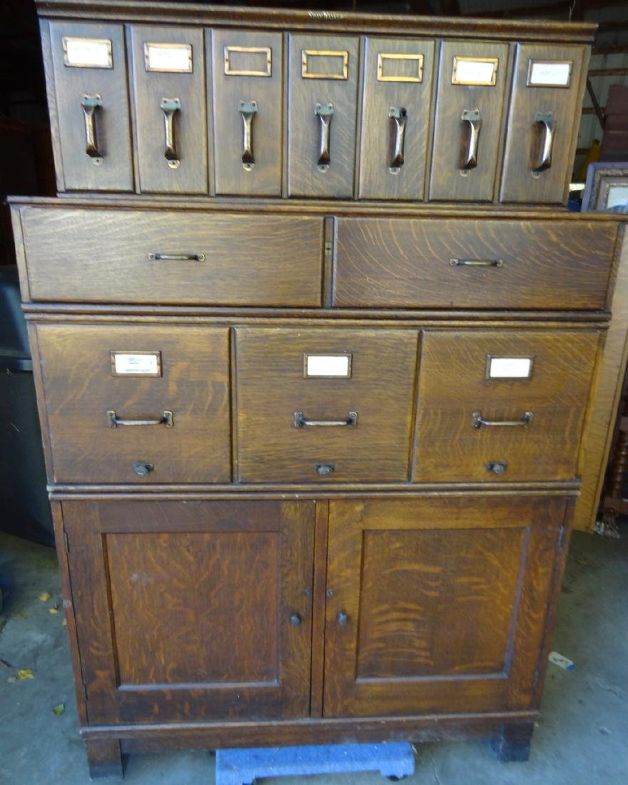 Shaw Walker Oak Stacking File Cabinet