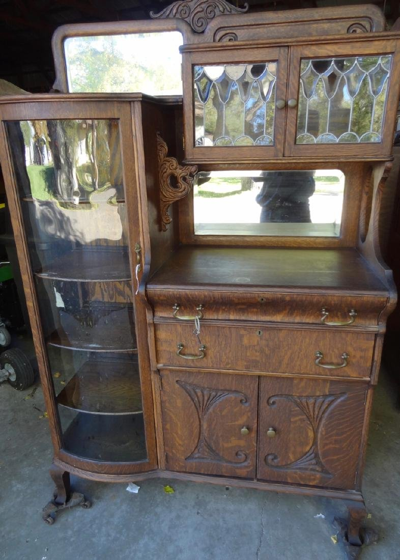 Beveled Leaded Glass China Buffet