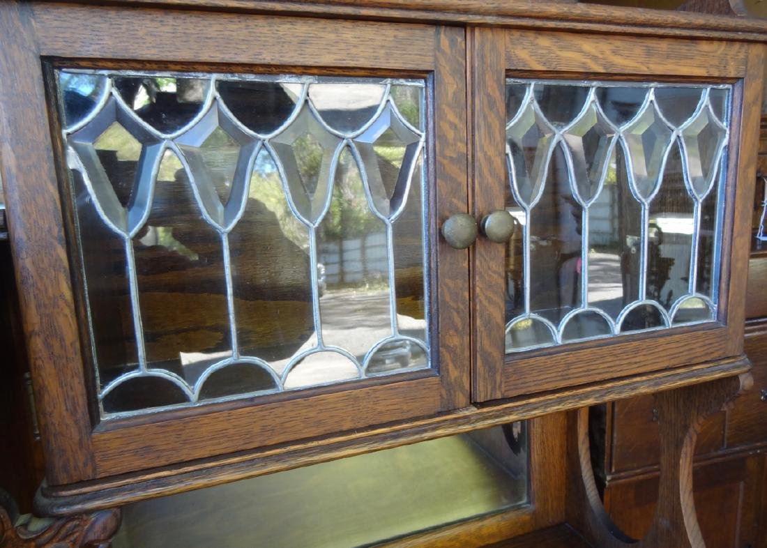 Beveled Leaded Glass China Buffet - 4