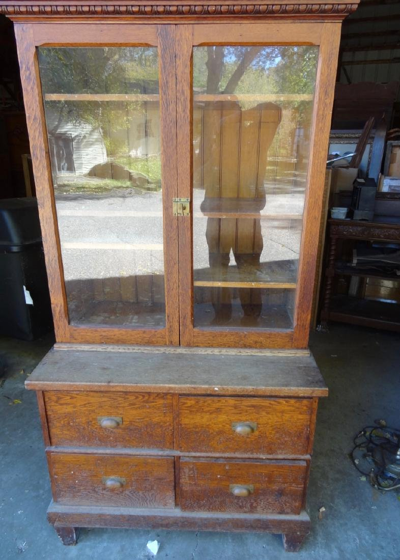 2 Pc. Small Country Store Oak Cabinet