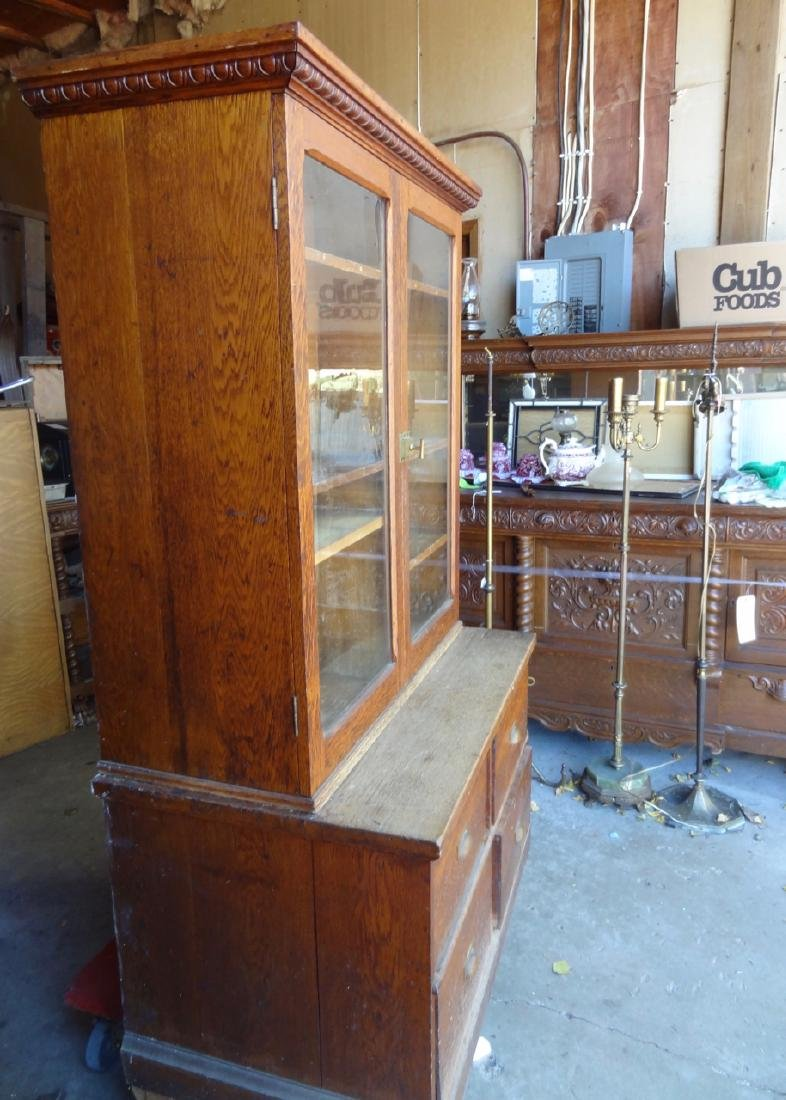 2 Pc. Small Country Store Oak Cabinet - 2