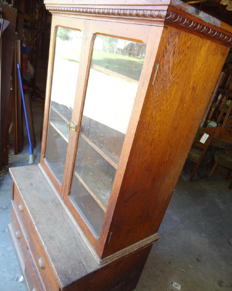 2 Pc. Small Country Store Oak Cabinet - 3