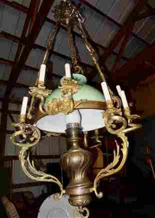 Large Bronze 8 Arm Hanging Fixture