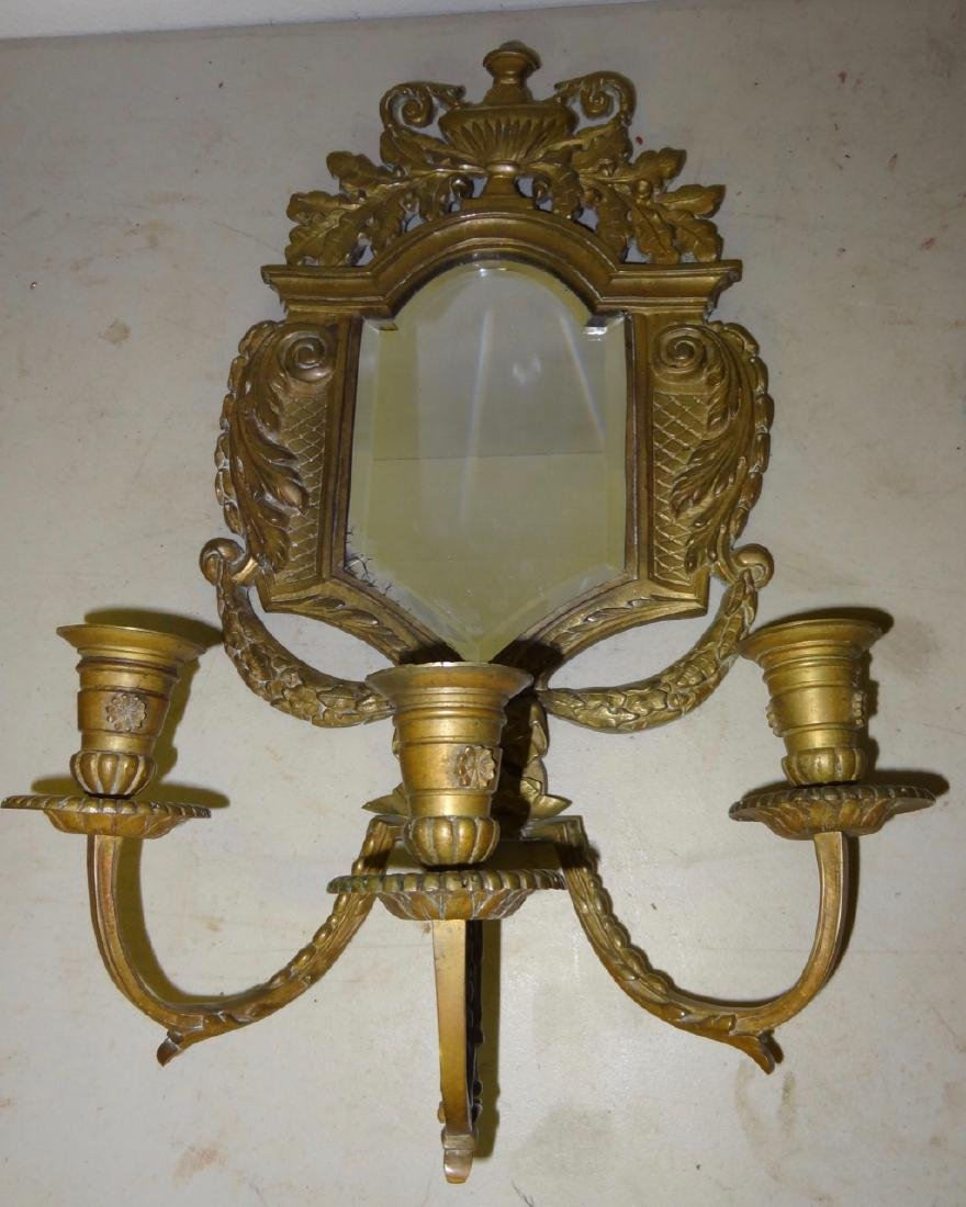 Pair of Early Bronze Mirrored Sconces - 2