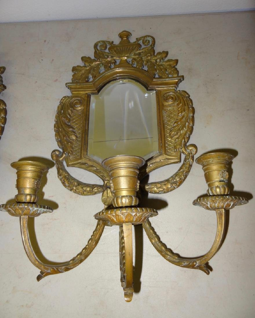 Pair of Early Bronze Mirrored Sconces - 3
