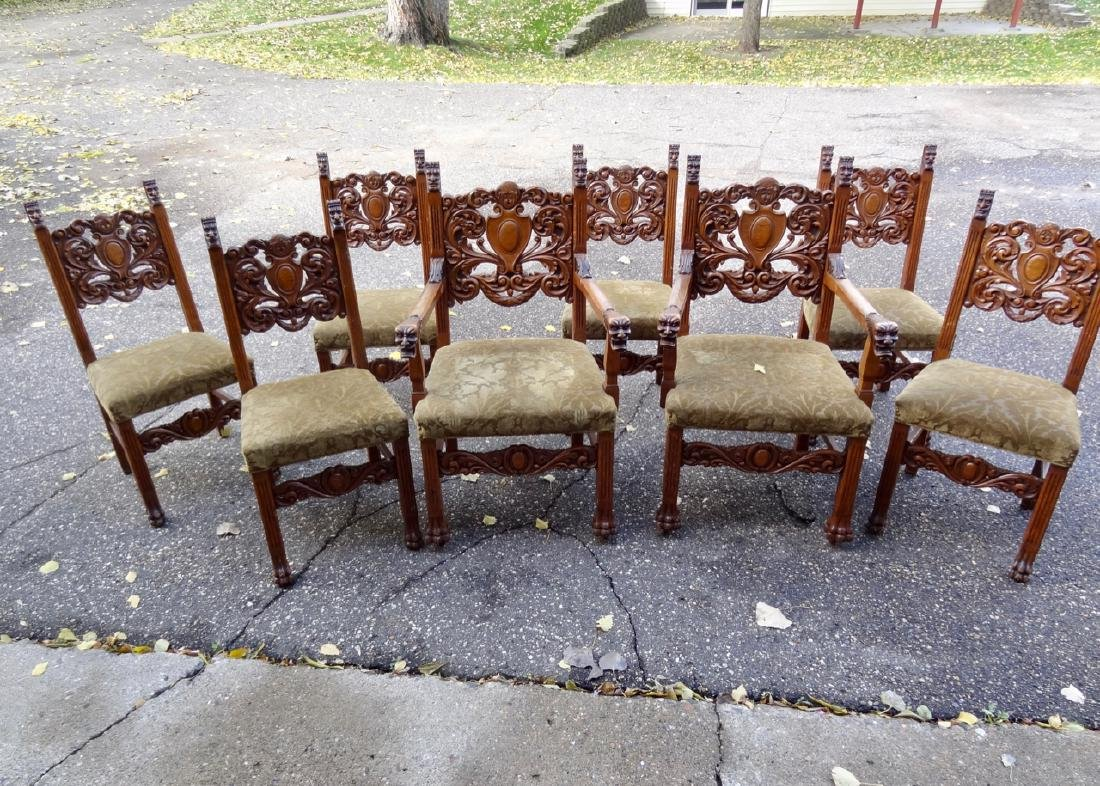 8 Horner Oak Carved Lion Headed Chairs