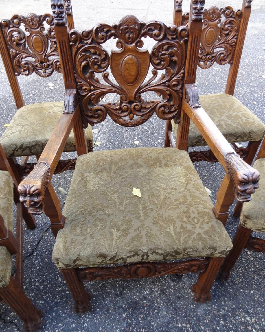 8 Horner Oak Carved Lion Headed Chairs - 3
