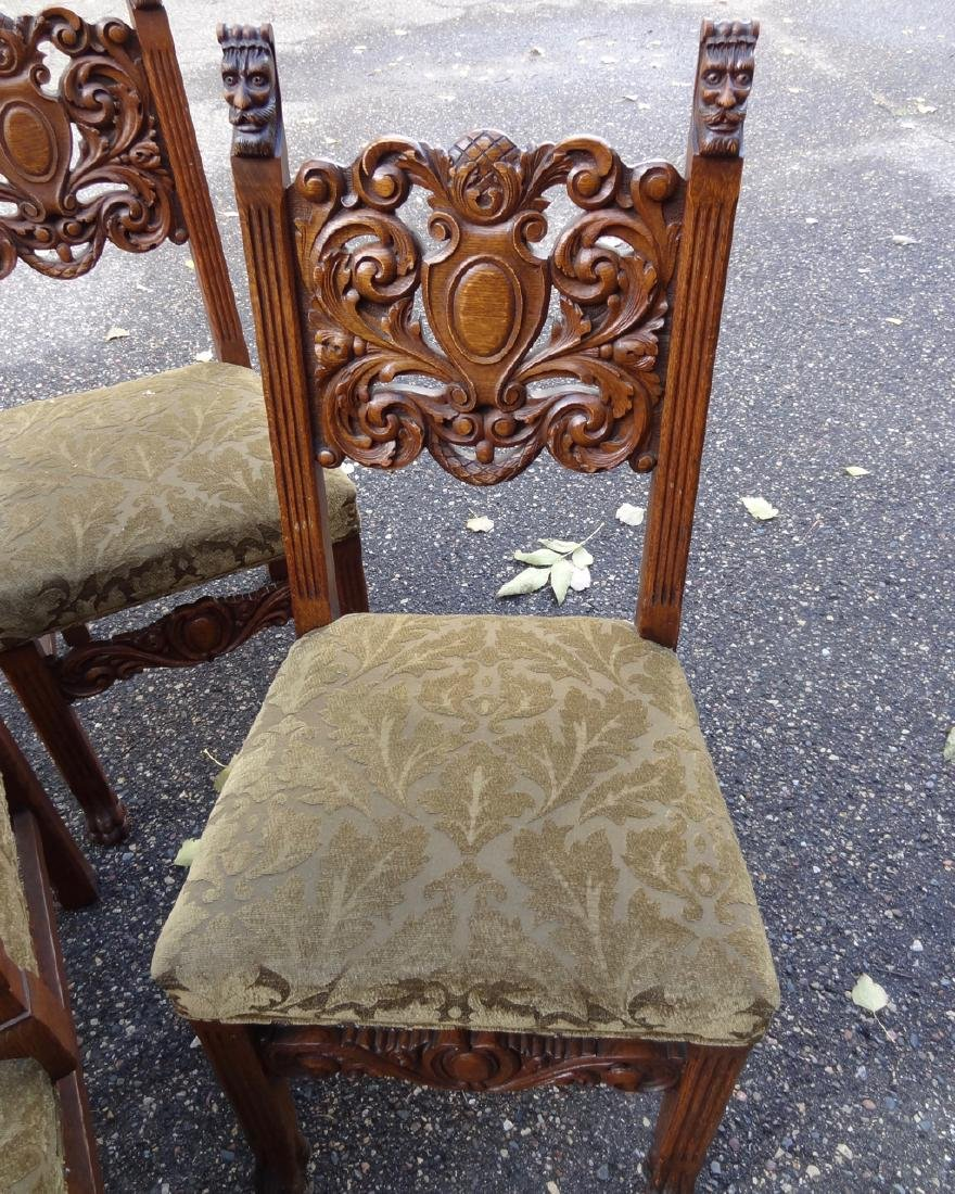 8 Horner Oak Carved Lion Headed Chairs - 4