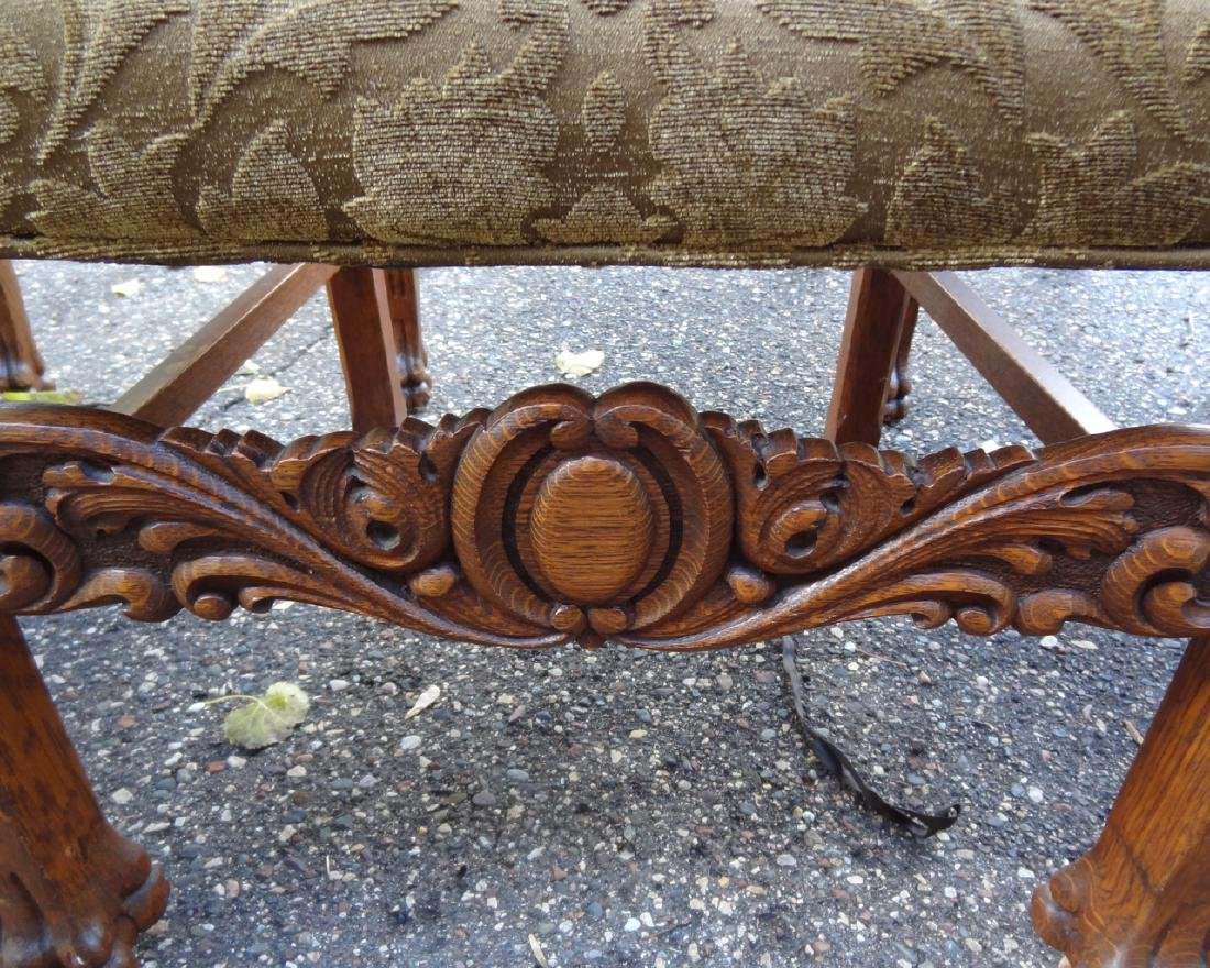 8 Horner Oak Carved Lion Headed Chairs - 5