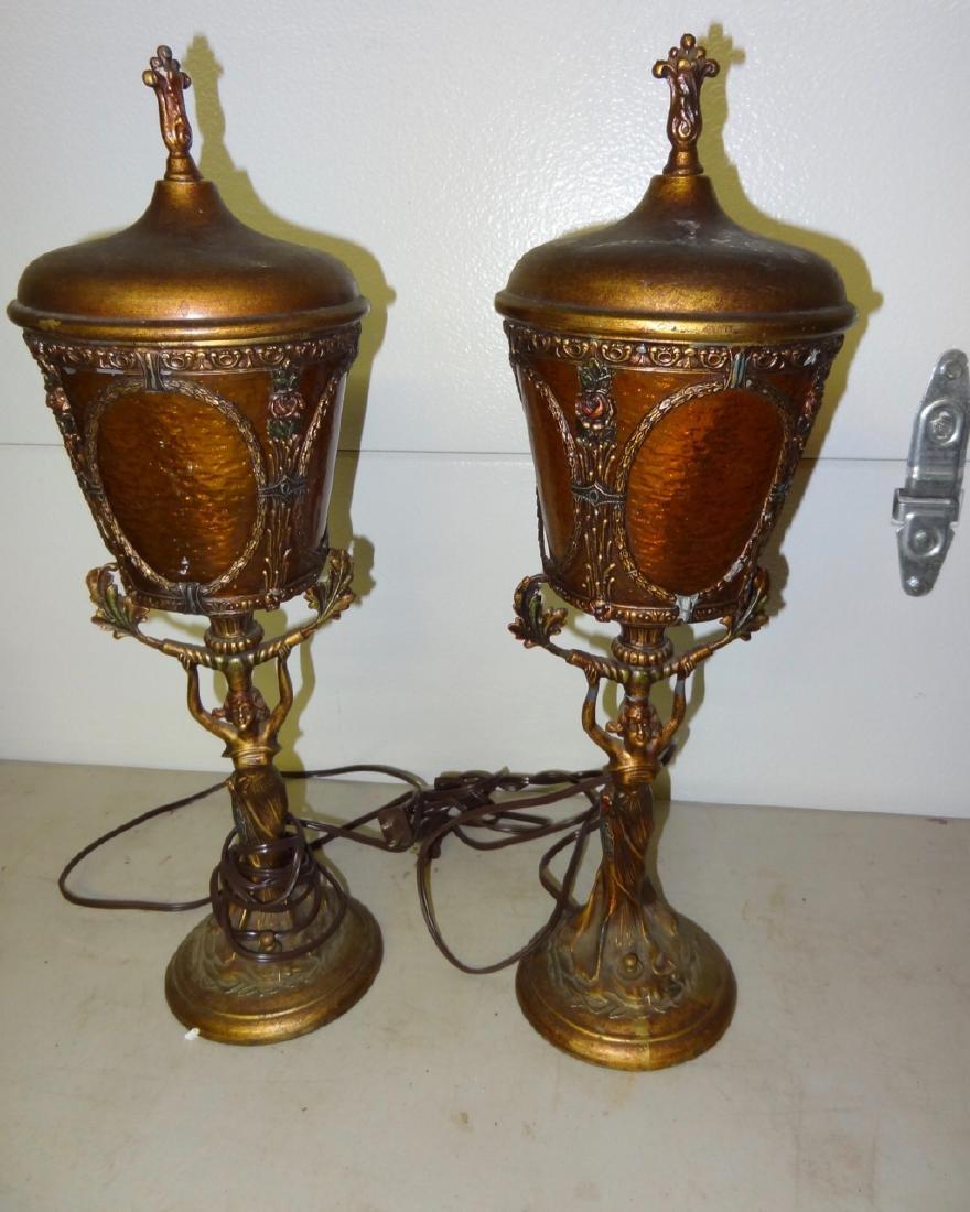Pair of Art Neavou Figural Lamps