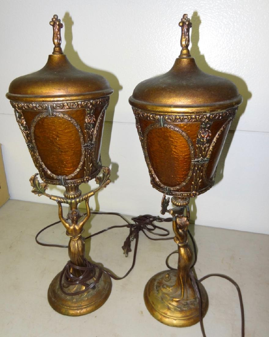 Pair of Art Neavou Figural Lamps - 4