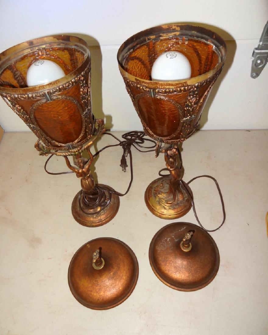 Pair of Art Neavou Figural Lamps - 5
