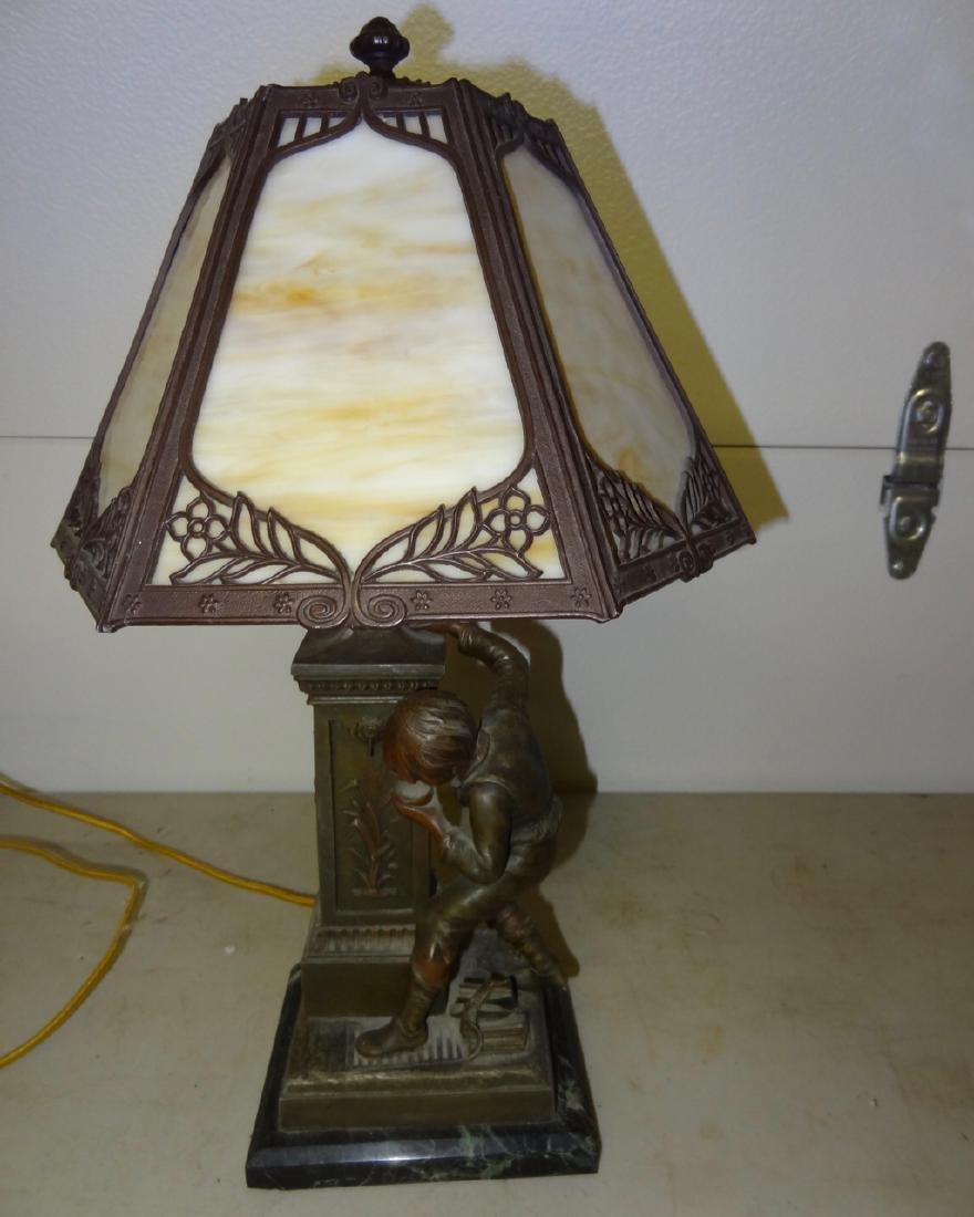 Figural Slag Glass Lamp