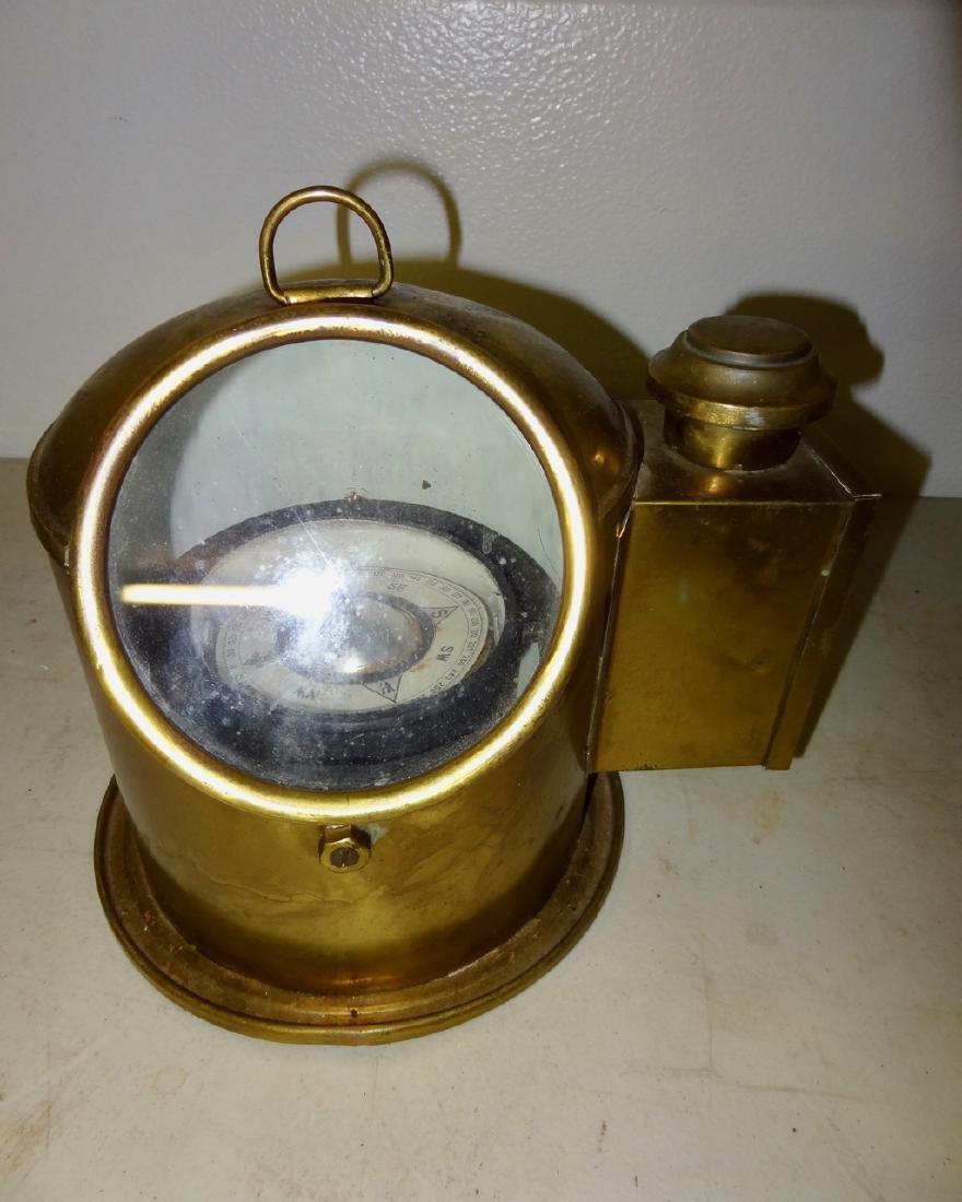 Brass Ship's Compass w/Kerosene Lamp Attached