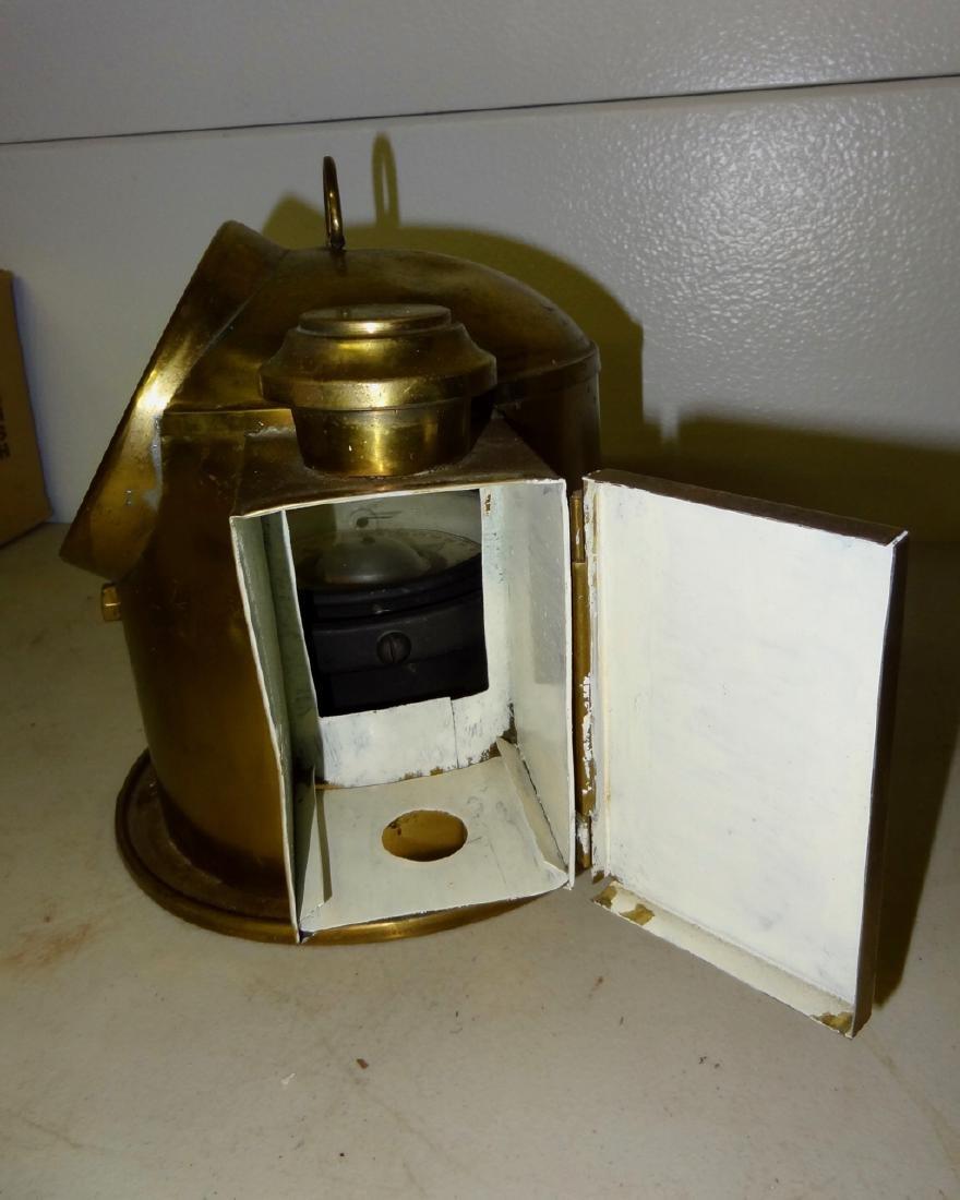 Brass Ship's Compass w/Kerosene Lamp Attached - 3
