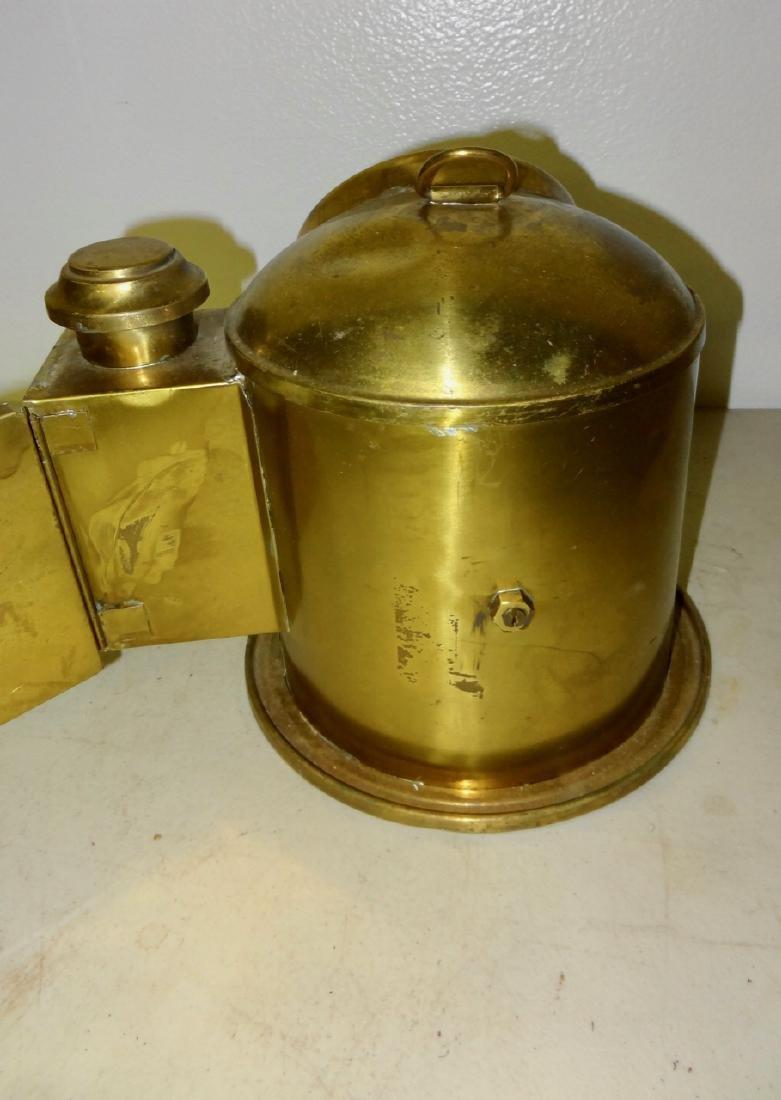 Brass Ship's Compass w/Kerosene Lamp Attached - 4