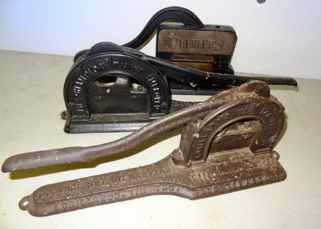 3 Tobacco Cutters w/Advertising