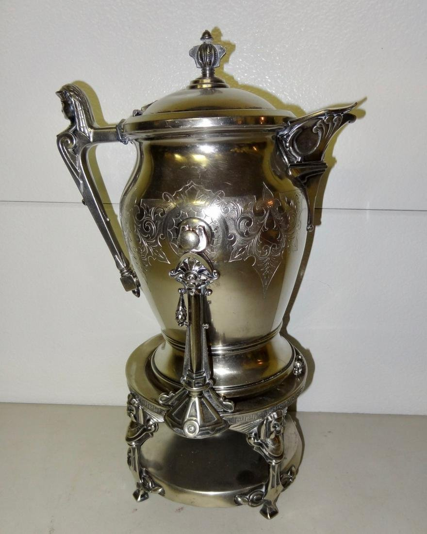Early Silverplate Coffee Pot on Stand