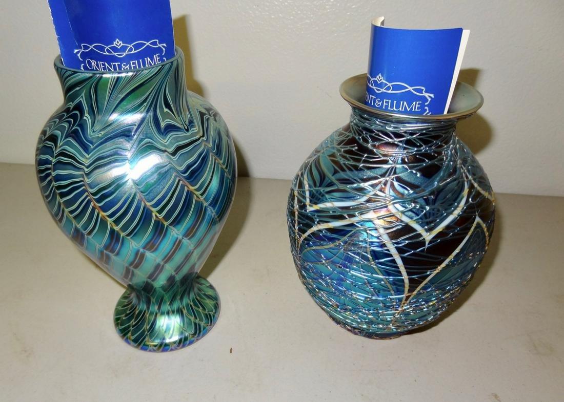 2 Signed Orient & Flume Art Glass Vases