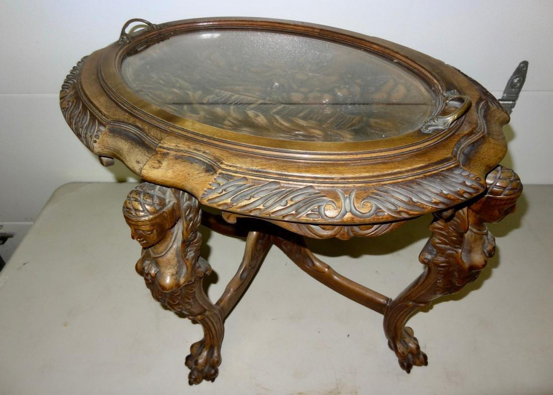Very Ornate 1930 Walnut Coffee Table