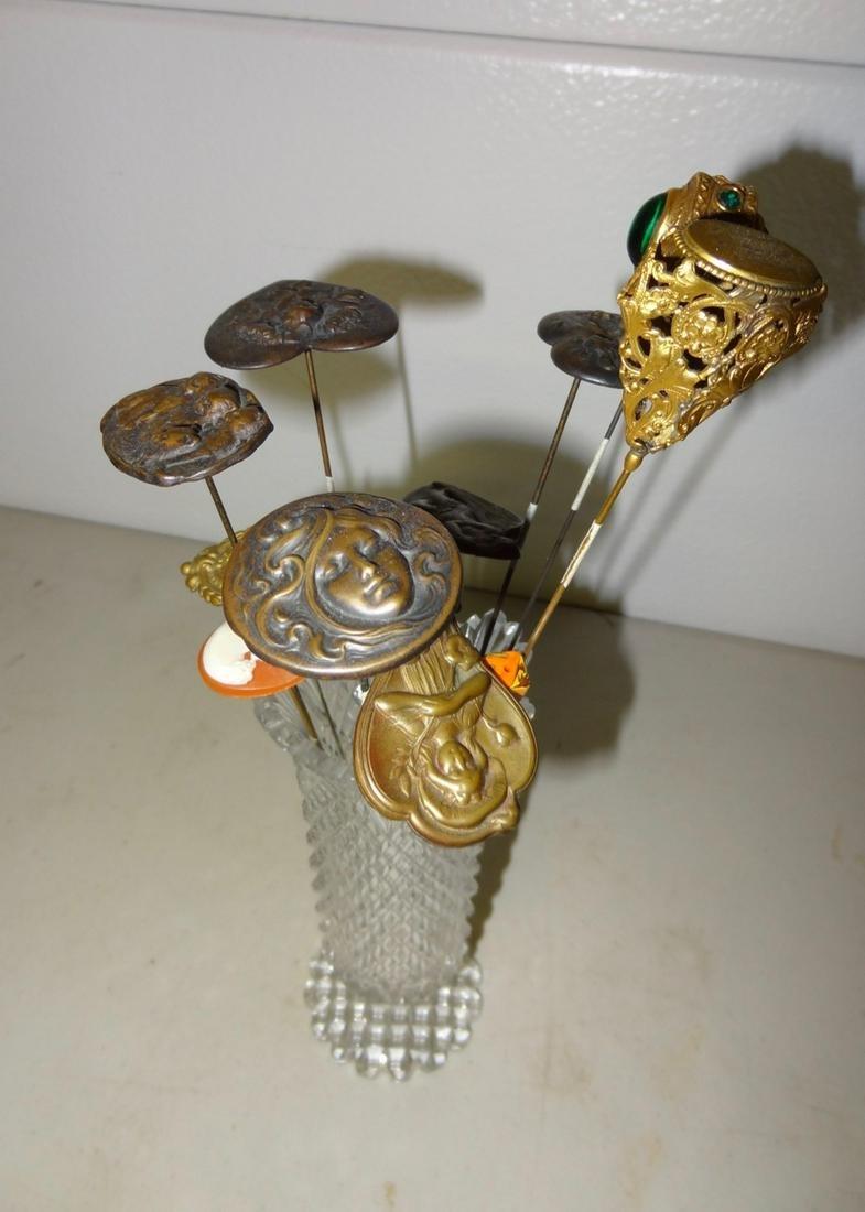 11 Old Victorian Hatpins in Cut Holder