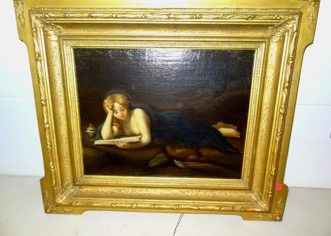 Quality Oil on Board of Woman Reading