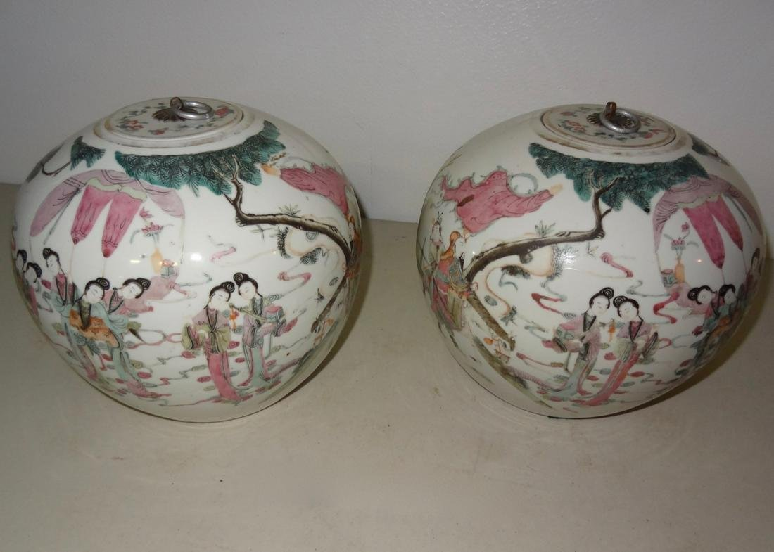 Pair of Asian Ginger Covered Jars