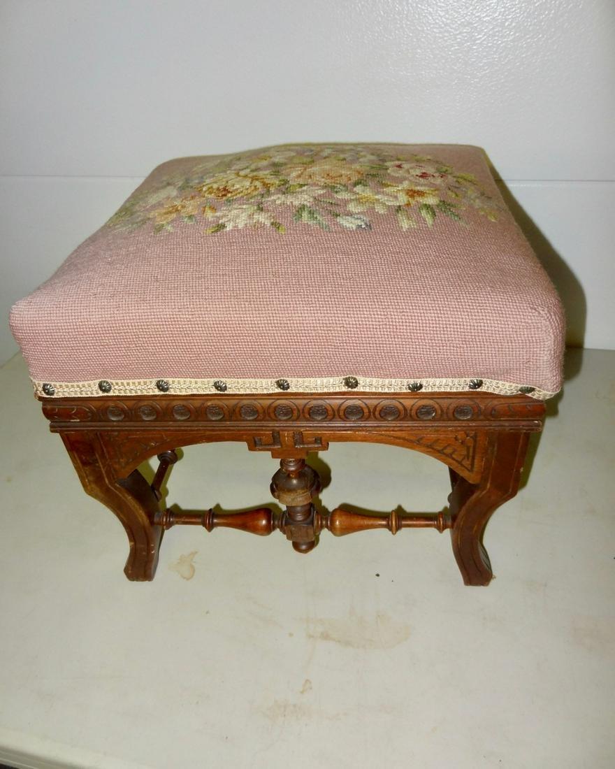 Victorian Needlepoint Footstool
