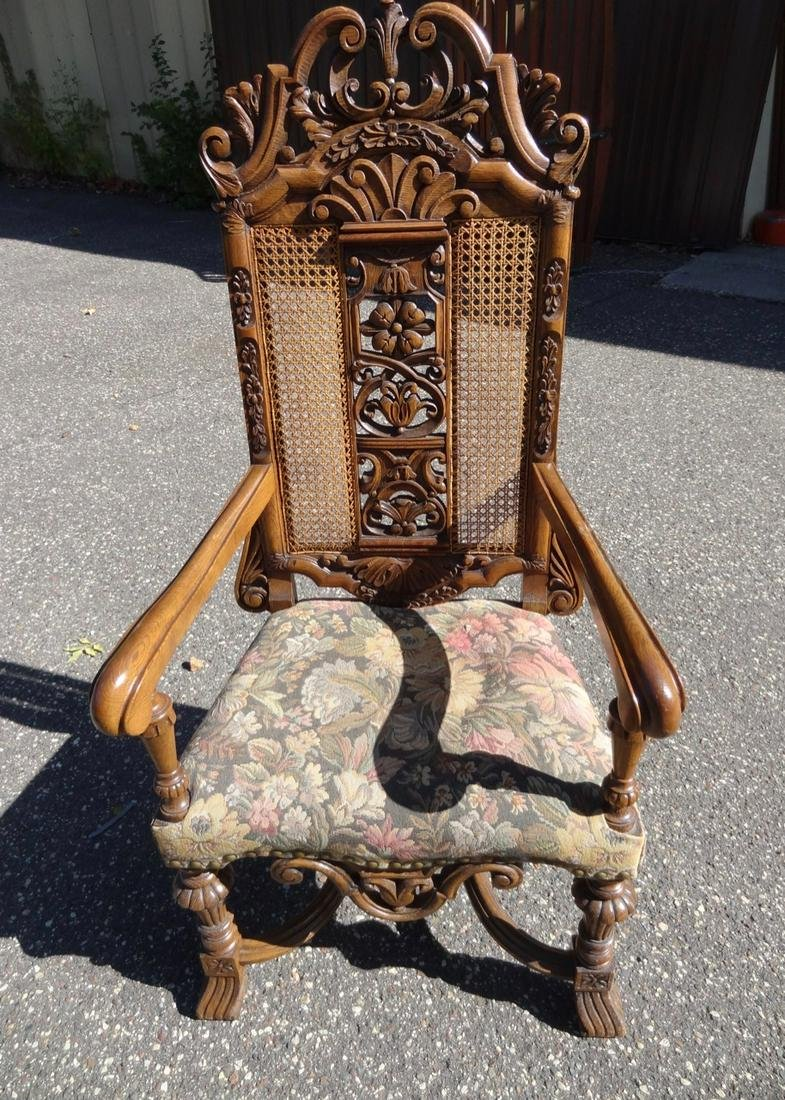 Large Carved Oak Arm Chair