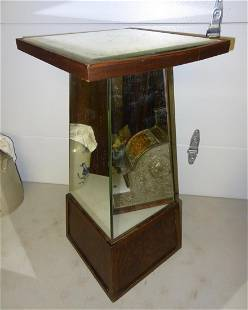 Oak Mirrored Store Display Pedistal