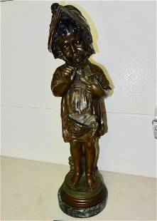 Large Signed Bronze Figure of Small Girl Holding a Bird