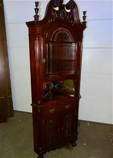 Rare Size Mahogany Corner Cabinet