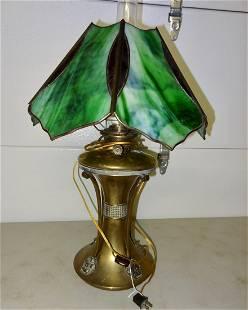 Signed Parker Kerosene Lamp wStain Glass Shade