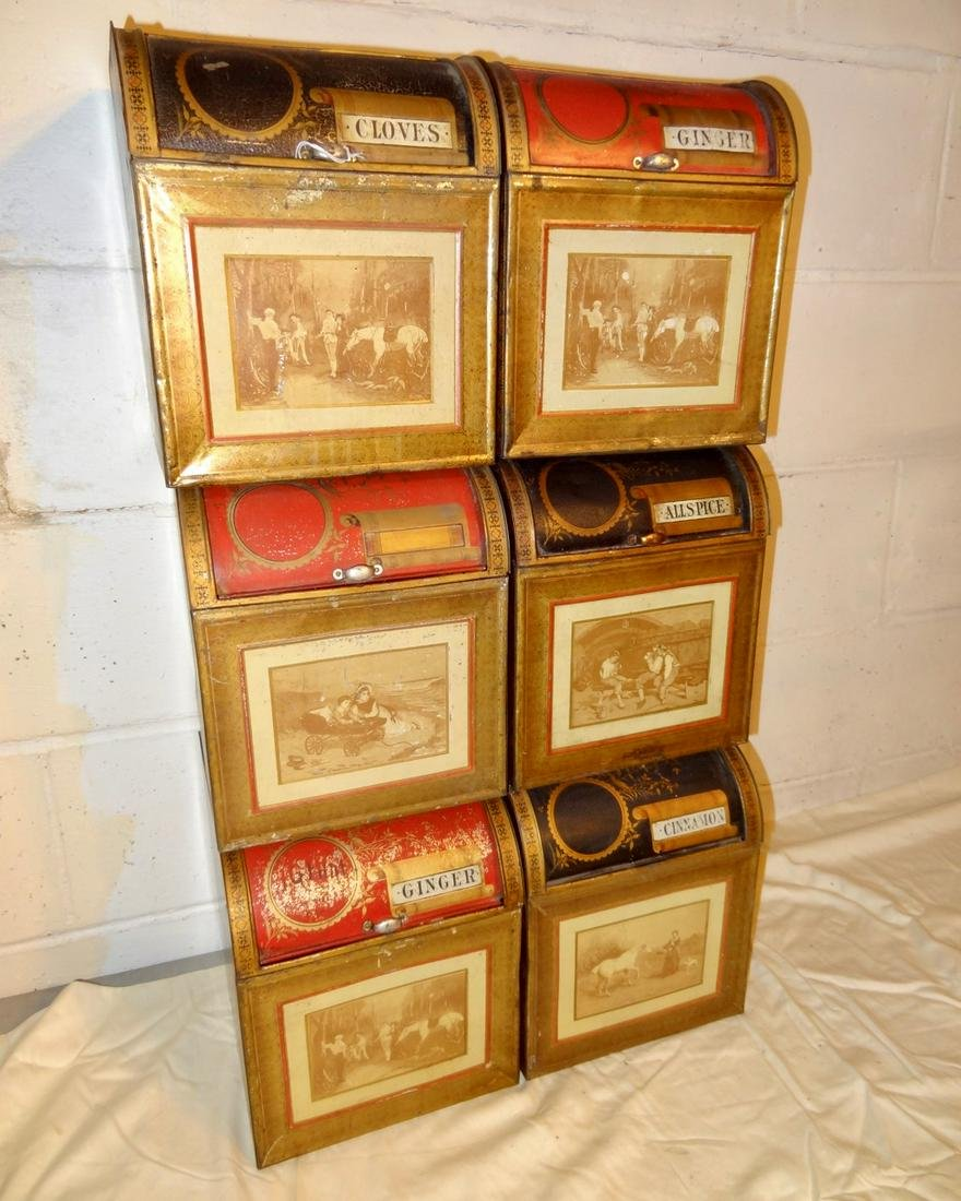 6 Matching Store Tin Spice Cabinets