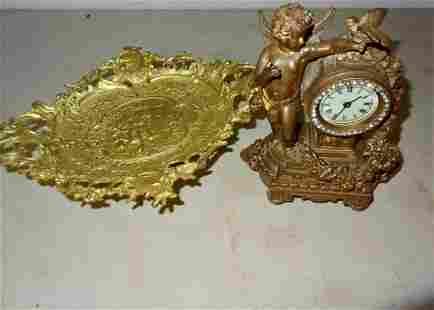 Cupid Moteiff Dresser Clock Calling Card Tray